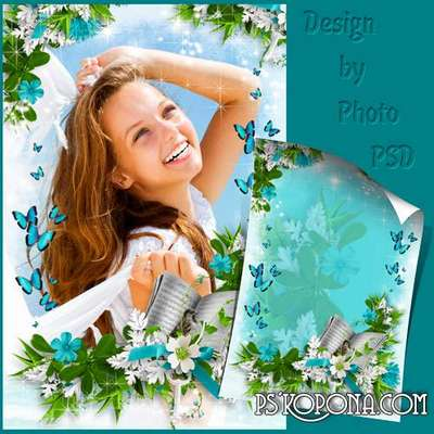 Romantic photo frame - Plastic butterfly