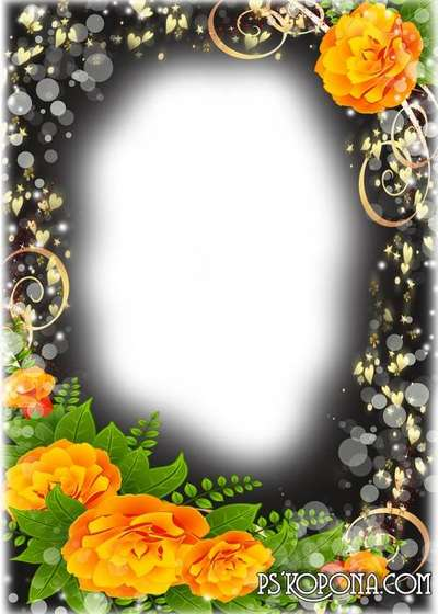Photo frame with flowers - roses Beyond the Clouds