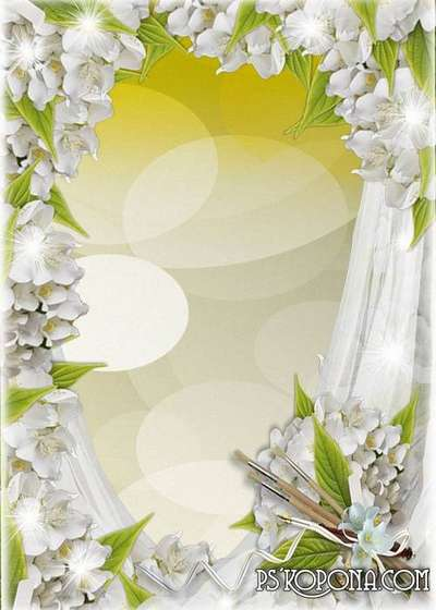 Women's frame with flowers - Magic glow colors