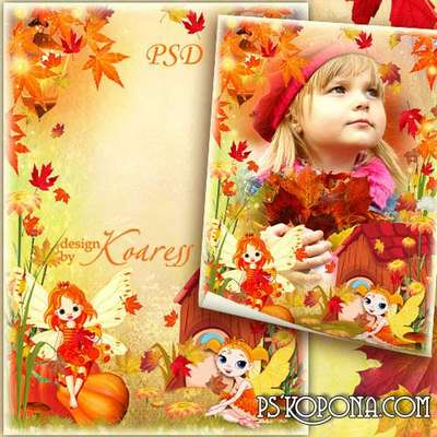 Childrens frame for Photoshop with the fairies - Autumn falling leaves
