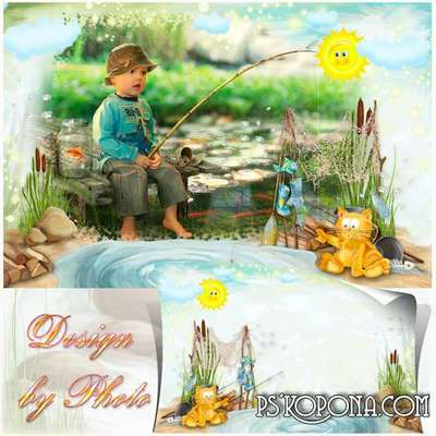 PSD Photo Frame for kids - Fisher cat