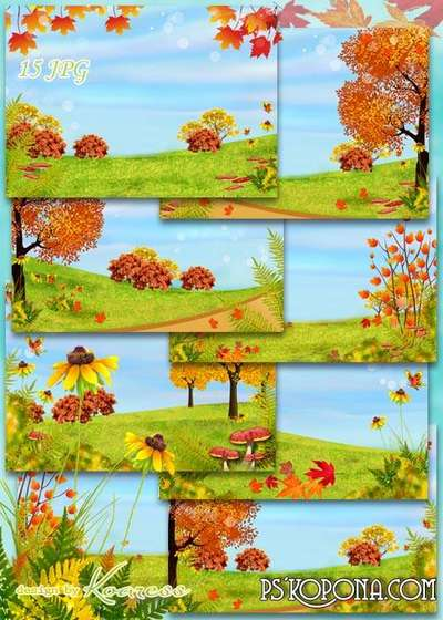 Children autumn backgrounds for design with falling leaves, trees, mushrooms - Colors of Autumn