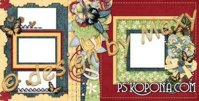Universal Photo Album - photobook template psd - Flowers on cloth