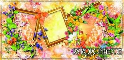 Bright floral photo album template psd - Drop of dew