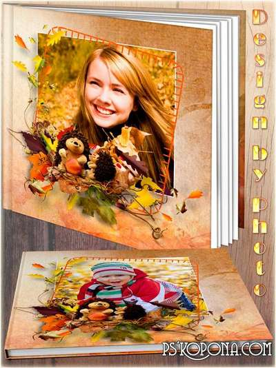 Family photo book template psd free - Rainbow autumn