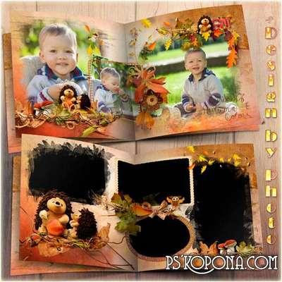 Family photo book template psd free - Rainbow autumn