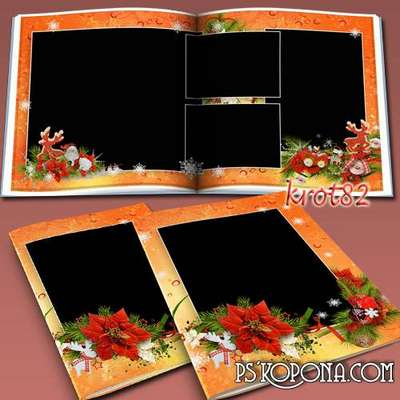 Template Christmas photobook psd with frame for photo - Soon the New Year