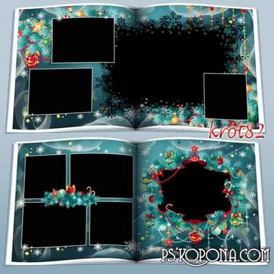 Template Christmas photobook psd with frame for photo - Christmas tree lights lights