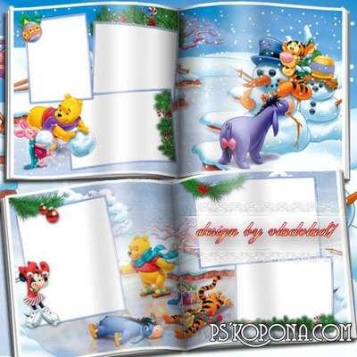 Children photobook template psd with Disney characters - New year