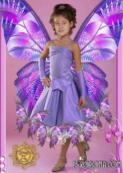Children's template for photoshop - Beautiful Butterflies outfit