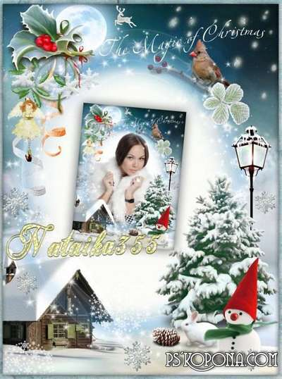 Free Winter frame png + Christmas photo frame psd - Magic of Christmas my