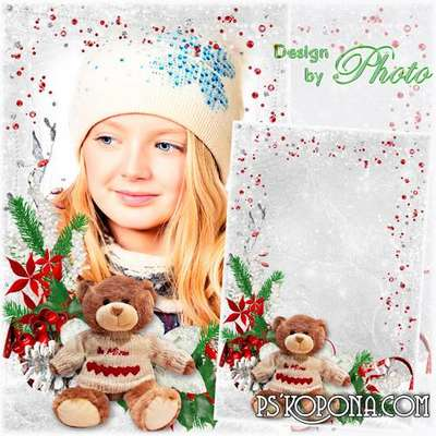 New year children photoshop photo frame PSD template - Snowflake village on glass