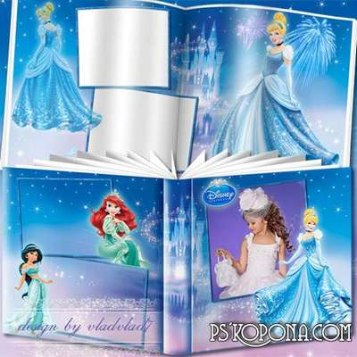 Cartoon Photobook template psd for girls - Disney Princesses and fairytale castle