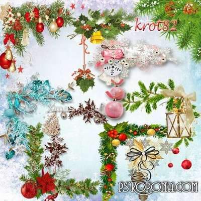 A selection of Christmas clipart in PNG format - Christmas clusters corners
