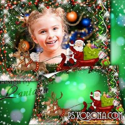 Christmas Children frame PNG + photo frame psd template - Reindeer sled race painted