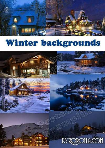 Nature, winter, wood, at home, lamps, night – New Year backgrounds