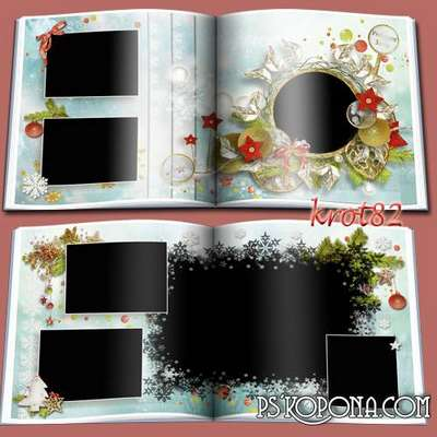 Template Christmas photo book templates psd with frames for photos - on the Christmas tree balls shine