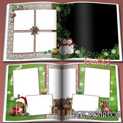 Template Christmas photo book template psd - fairy waved her puffed sleeves winter