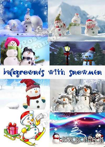 New Year backgrounds with snowmen 30 Jpg free download