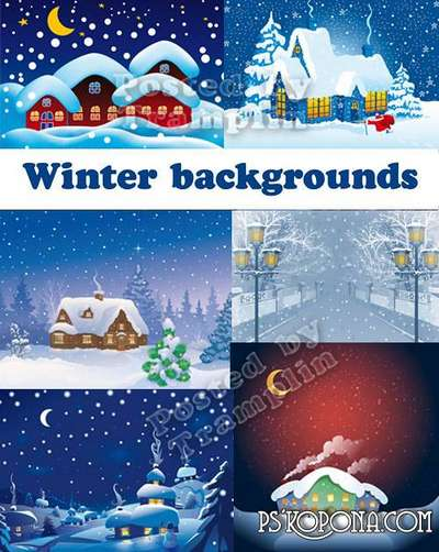 Winter backgrounds � Houses, snow, night, the moon