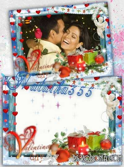 Romantic frame for photo - Lit candle burning bright love