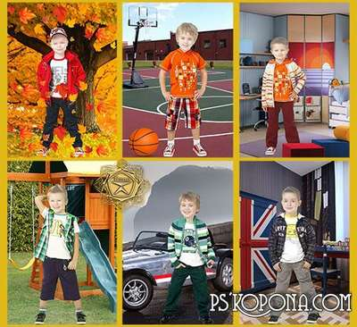 Children templates for Photoshop - Fashion boy