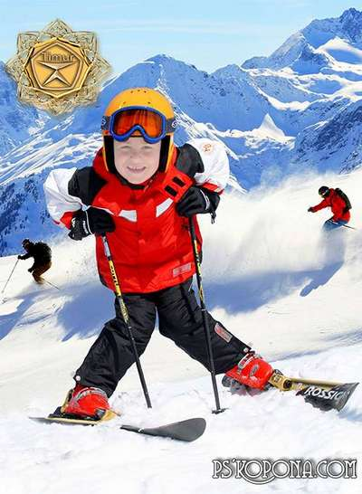 Children's template for photoshop - Ski suits for boys