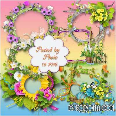 16 PNG floral Frames with cutouts for photo - Spring coolness