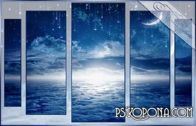 Polyptych in PSD for photoshop - the Starry sky