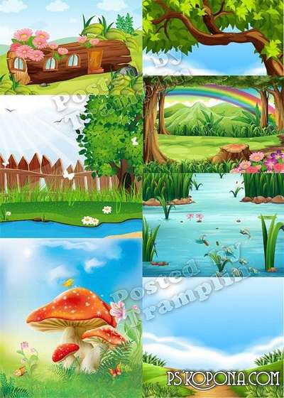 Backgrounds for children collages – the Nature, landscapes
