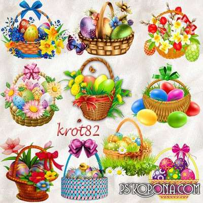 A selection of clip art for Easter - Easter basket with eggs