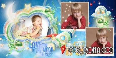 Photobook template psd for a boy - Space