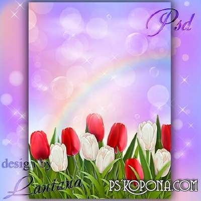 PSD source - Spring came with tulips