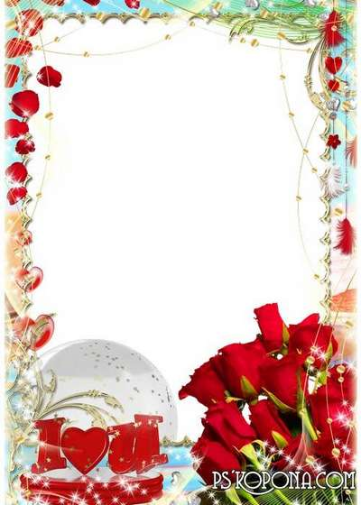 Photo frames for St. Valentines Day - Petals of red roses