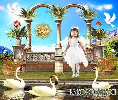 Children's template for Photoshop - Swan Lake