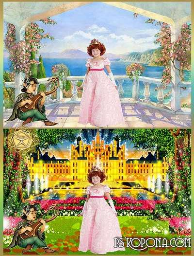 Children's template for Photoshop - Princess from a fairy tale