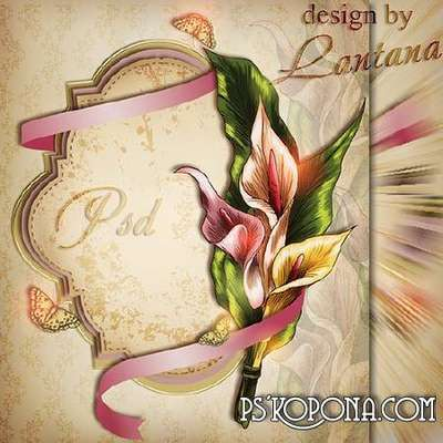 PSD source - Greeting card with calla lilies