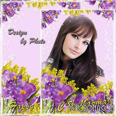 flowers frame psd on the 8th of March with crocuses and Mimosa