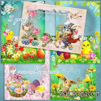 Set of spring photo frameworks - Happy Easter