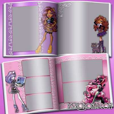 Photobook template psd for girls - Monster High