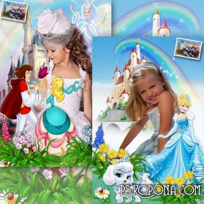 Kids frames for portrait photo girls with cartoon characters Cinderella