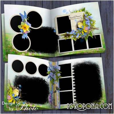 Photobook template psd - The sun Shines stronger spring is already at the door