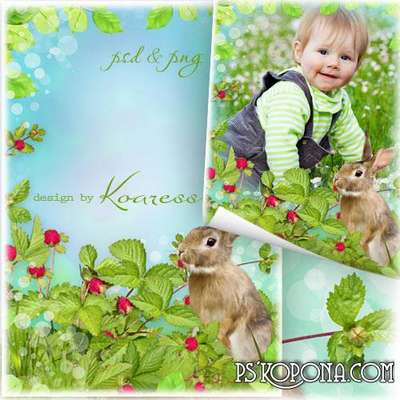 Kids photo framework - With the Hare on the meadow