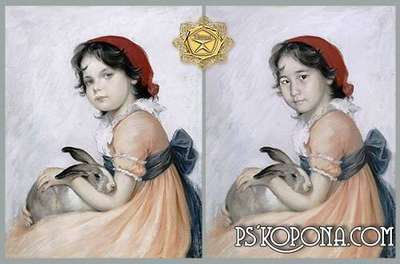 Children's template for photoshop - Paintings, Girl with a rabbit