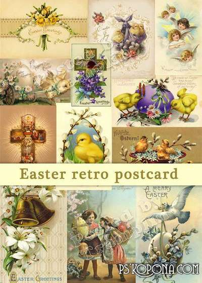 Easter cards in a retro style free download