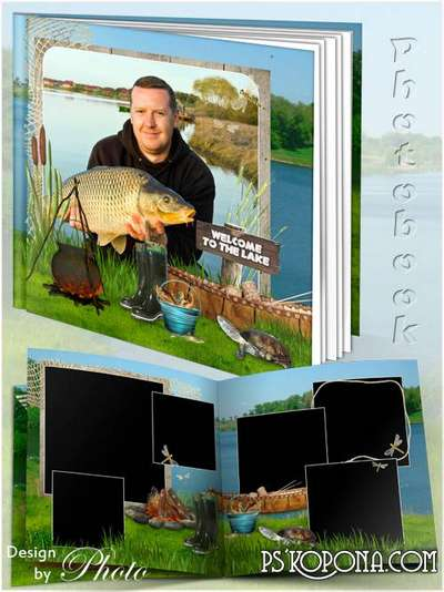 Men's photobook template psd - The fishing season