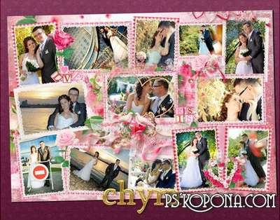 Collage in soft pink tones - The happiest day