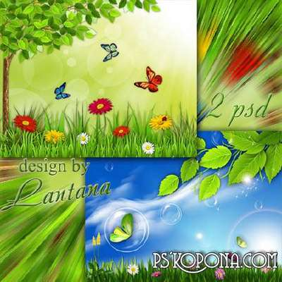 2 free multilayered psd source for personal use in Photoshop, a summer theme with butterflies and flowers
