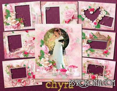 Wedding free photo frames in soft pink colors