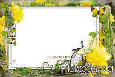Free Photo frame (PSD, PNG) - Spring photo
